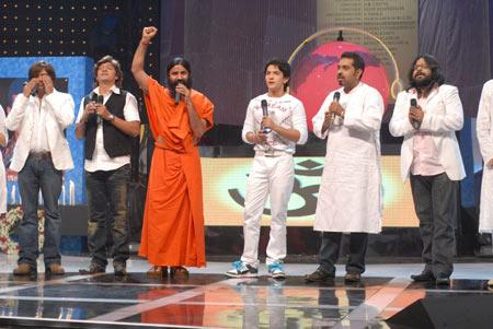 Baba Ramdevji visits Sa Re Ga Ma Pa